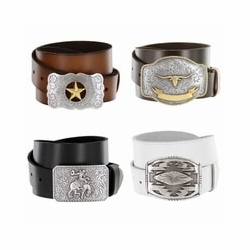 Western Trophy Buckle Leather Casual Belts