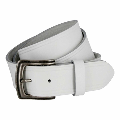 "White Hand-cut Debossed Edge Belt 1-1/2"" Wide"