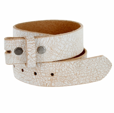 "White Vintage Distressed Full Leather Belt Strap 1-1/2"" (38mm) Wide"