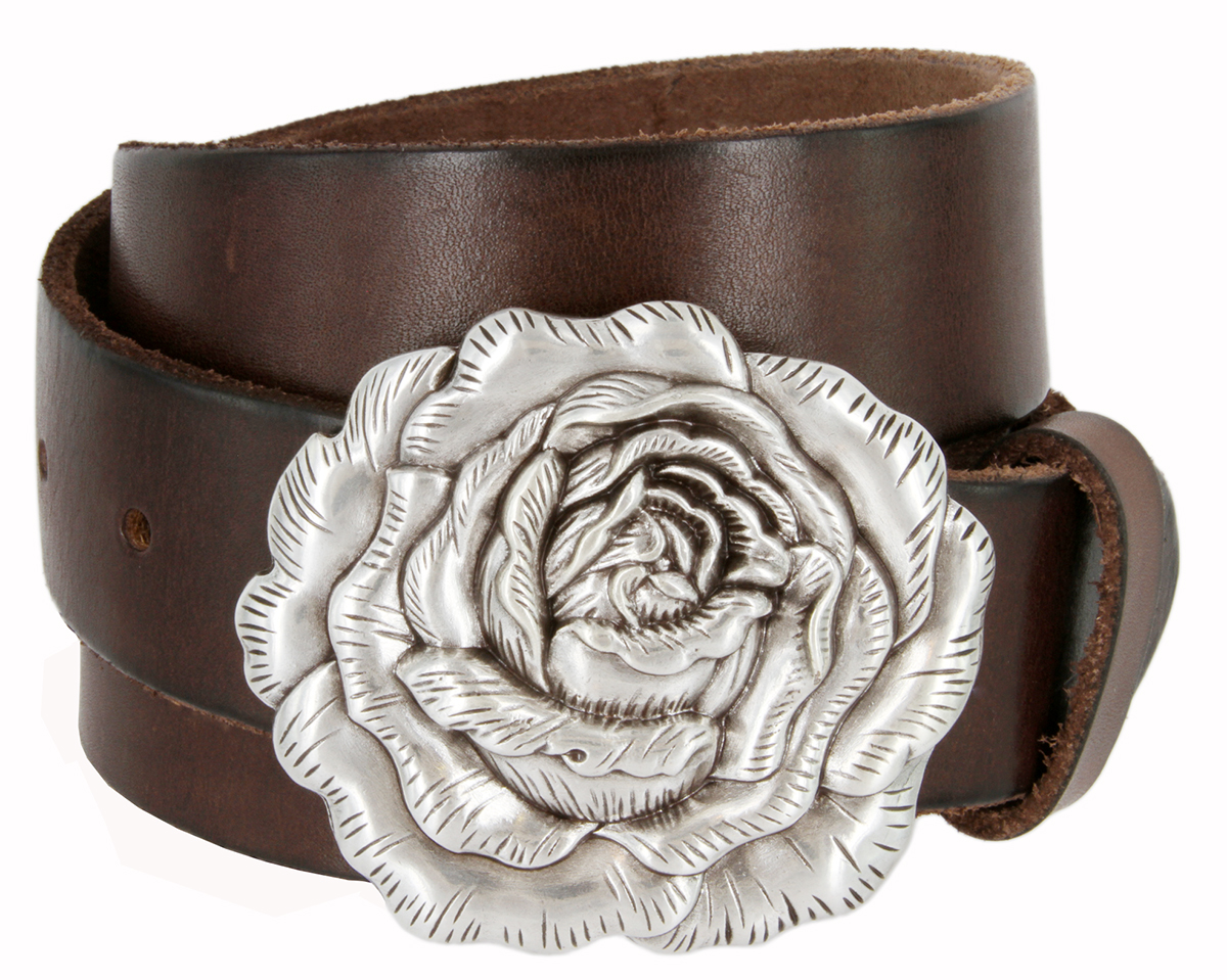 Women S Antique Silver Rose Buckle One Piece Full Grain Leather