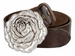 "Women's Antique Silver Rose Buckle One Piece Full Grain Leather Casual Jean Belt 1-1/2"" wide2"