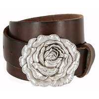 "Women's Antique Silver Rose Buckle One Piece Full Grain Leather Casual Jean Belt 1-1/2"" wide"