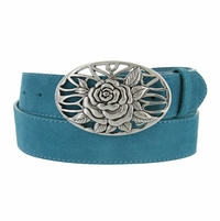 Women's Casual Silver Rose Flower Weave Buckle Genuine Suede Leather Belt � Multiple Colors Available�