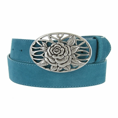 Women's Casual Silver Rose Flower Weave Buckle Genuine Suede Leather Belt • Multiple Colors Available•