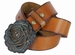 "Women's Copper Patina Rose Buckle One Piece Full Grain Leather Casual Jean Belt 1-1/2"" wide - Tan2"