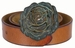 "Women's Copper Patina Rose Buckle One Piece Full Grain Leather Casual Jean Belt 1-1/2"" wide - Tan3"