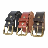 "Women's Full Grain Casual Leather Belt with Antiqued Solid Brass Buckle 1-1/2"" wide"