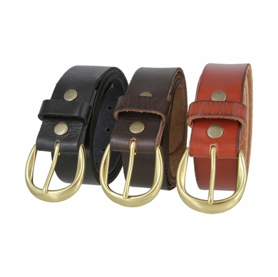 "Women's Full Grain Casual Leather Belt with Polished Solid Brass Buckle 1-1/2"" wide"