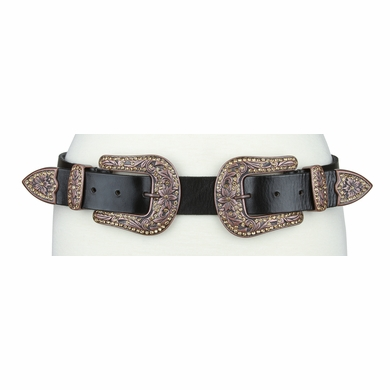 "Women's Hand Made Full Grain Leather Belt with Rhinestone Double Buckle Set Copper Finish Belt - 1 1/2"" Wide"