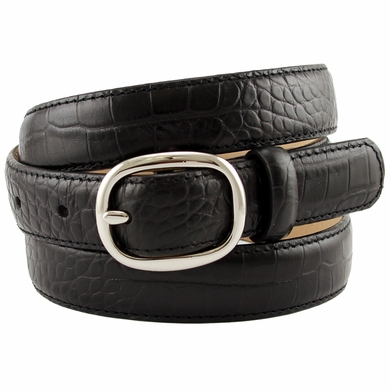 "Women's Italian Leather Designer Dress Belt 1"" Wide - Black"