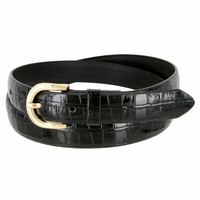 Women's Skinny Alligator Skin Embossed Leather Casual Dress Belt with Buckle - Black
