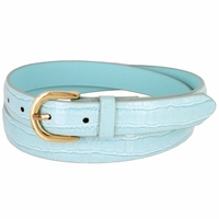 Women's Skinny Alligator Skin Embossed Leather Casual Dress Belt with Buckle - Blue