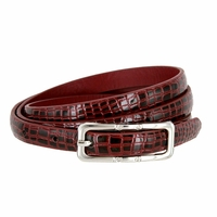 Women's Skinny Alligator Skin Embossed Leather Casual Dress Belt with Buckle - Burgundy