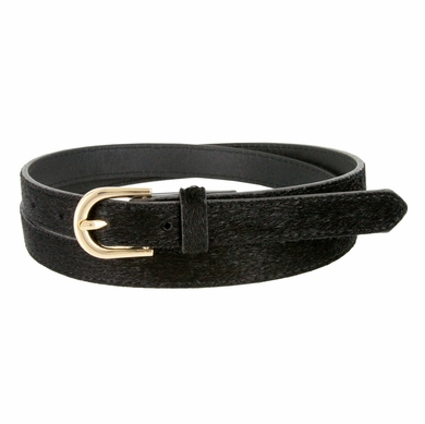 Women's Skinny Leather Casual Dress Hair-on Fur Belt with Gold Plated Buckle - Black