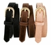 Women's Skinny Leather Casual Dress Hair-on Fur Belt with Gold Plated Buckle - Tan3