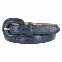 "Women's Skinny Snakeskin Embossed Genuine Leather Dress Belts 3/4"" or 19mm - Navy"