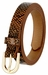 Women's Skinny Snakeskin Embossed Leather Casual Dress Belt with Buckle - Brown2