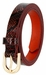Women's Skinny Snakeskin Embossed Leather Casual Dress Belt with Buckle - Burgundy2