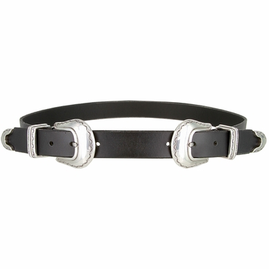 """Womens One Piece Hand Made Genuine Leather Double Buckle Set Belt 1"""" Wide - Black"""