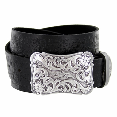 "Xanthe Women's Western Belt Buckle Belt 1 1/2"" wide-Black"