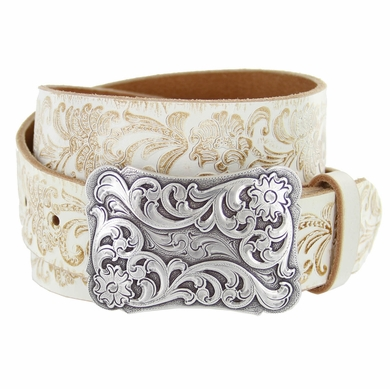 "Xanthe Women's Western Belt Buckle Belt 1 1/2"" wide-White"