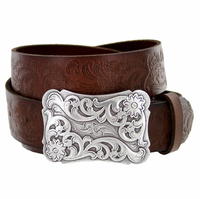 Xanthe Women's Western Full Grain Leather Belt-Brown