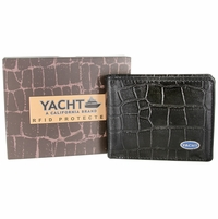 YACHT - A California Brand - RFID Protected Genuine Alligator Embossed Leather Bifold Wallet - Black