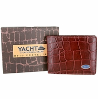 YACHT - A California Brand - RFID Protected Genuine Alligator Embossed Leather Bifold Wallet - Burgundy
