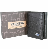 YACHT - A California Brand - RFID Protected Genuine Alligator Embossed Leather Trifold Wallet - Black