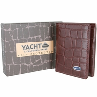 YACHT - A California Brand - RFID Protected Genuine Alligator Embossed Leather Trifold Wallet - Burgundy