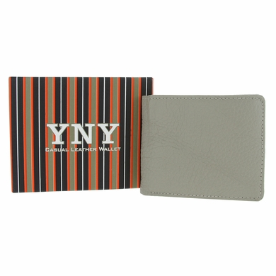 YNY Casual Genuine Leather Bifold Wallet - Light Grey