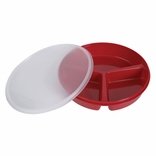 Ableware 745270004 Partitioned Red Scoop Dish with Lid
