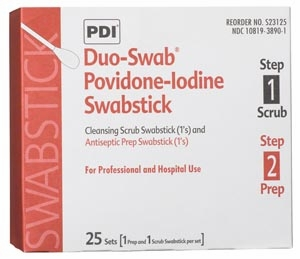 Duo-Swabs®, 1 PVP Iodine Scrub & 1 PVP Iodine Prep Swab in a Connected Packet, 2/pk, 25 pk/bx,