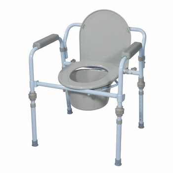 Folding Bedside Commode Seat with Bucket and Splash Guard in Blue