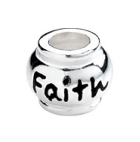 """10mm Kera™ Sterling Silver """"Faith"""" Expression Bead"""