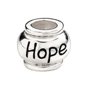 "10mm Kera™ Sterling Silver ""Hope"" Expression Bead"