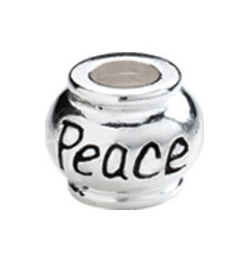 "10mm Kera™ Sterling Silver ""Peace"" Expression Bead"