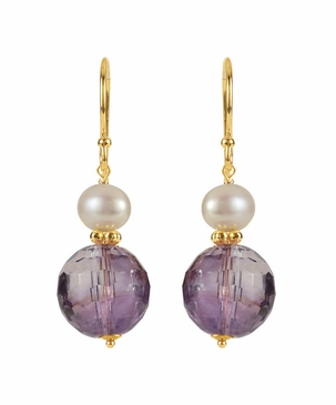 14 K Yellow Amethyst & Pearl Earrings