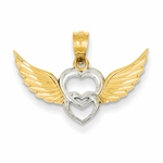 14K Gold Angel Heart Wings