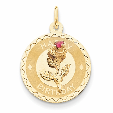 14K Gold Birthday Rose Charm Pendant