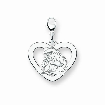 14k Gold Disney Aurora Silhouette Heart Charm with Lobster Clasp