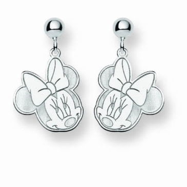 14k Gold Disney Minnie Mouse Cutout Heart Post Dangle Earrings