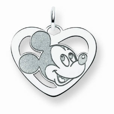 14k Gold Disney Small Mickey Mouse Silhouette Heart Charm