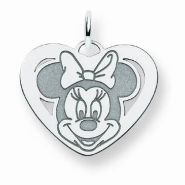 14k Gold Disney Small Minnie Mouse Cutout Heart Charm