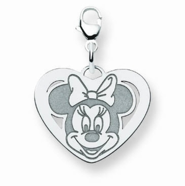 14k Gold Disney Small Minnie Mouse Cutout Heart Charm with Lobster Clasp