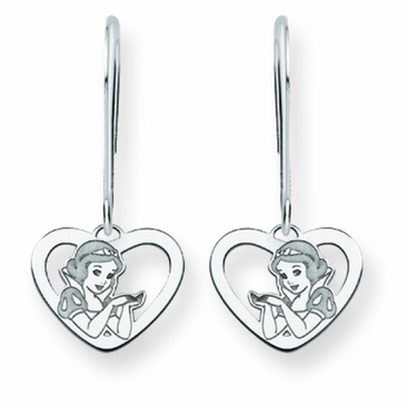 14k Gold Disney Snow White Silhouette Heart Wire Dangle Earrings