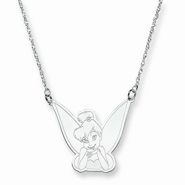 14k Gold Disney Tinker Bell Portrait Pendant Necklace