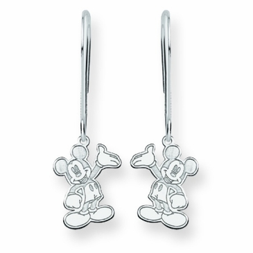 14k Gold Disney Waving Mickey Mouse Wire Dangle Earrings