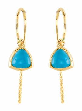 14K Gold Earrings with Natural Blue Pearl