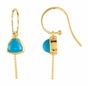 14K Gold Earrings with Natural Blue Pearl - click to Enlarge